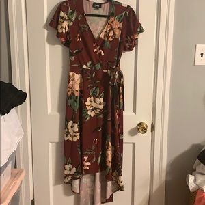 By & by high low hem faux wrap front floral dress